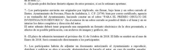Premio Obulco de investigación histórica «Ciudad de Porcuna» – 2018