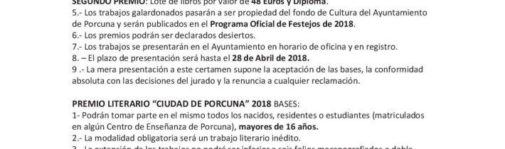 Premios literarios «Ciudad de Porcuna» (infantil y senior)