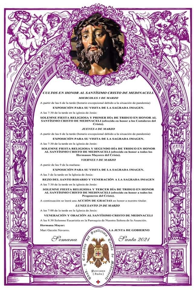 Triduo Cristo Medinaceli de porcuna 2021