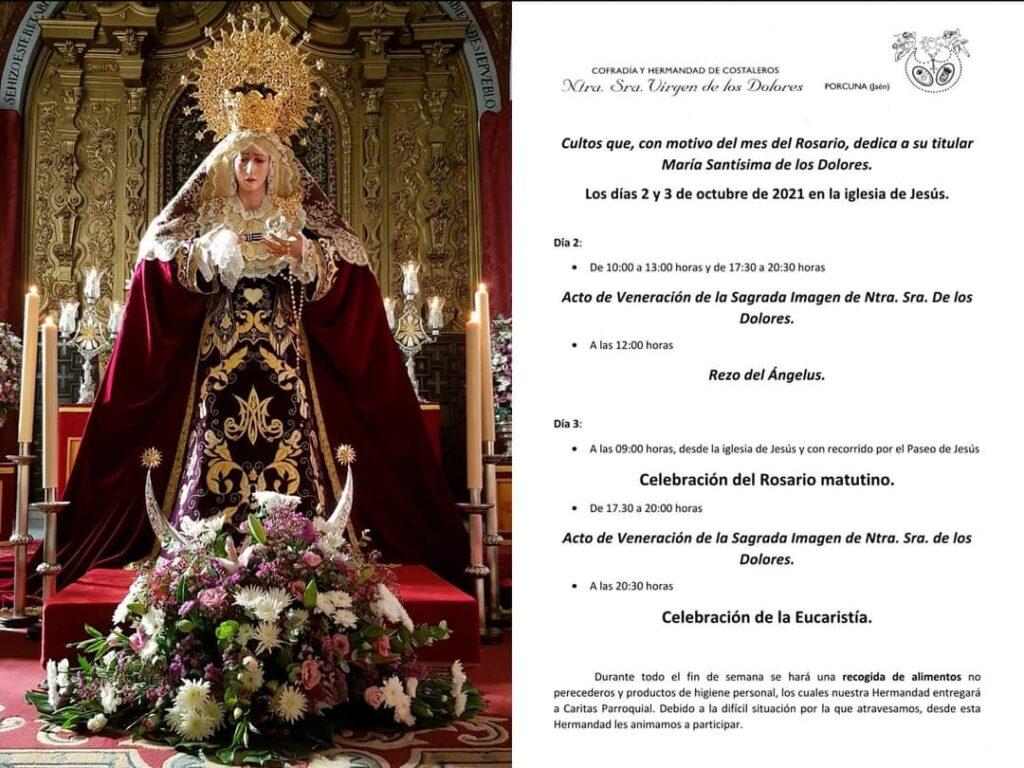Cultos virgen de los Dolores, porcuna
